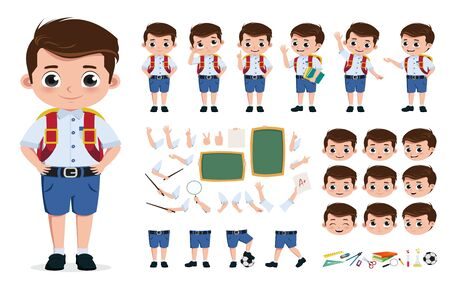 School boy character creation, kit set. Back to school pre-school, student editable character in different facial expressions and hand gestures for education design elements. illustration.