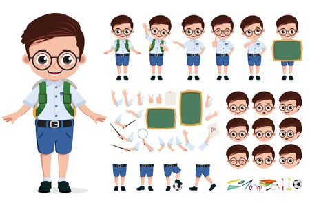 School boy character creation, set. Back to school editable character student kid in school uniform with different face head expression, hand and body movement for education designs. illustration.