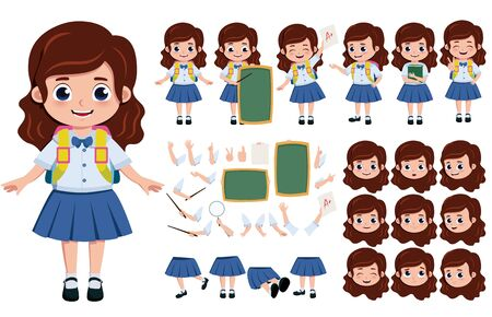 Student girl character creation, set. School girl editable character creation, kit in different face, hand and body pose for education elements. illustration.  イラスト・ベクター素材