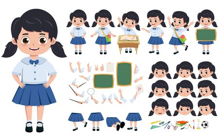 Student girl in uniform character creation, kit  set. pre-school, student in uniform editable and in different face head, hand and body gesture for education elements. illustration.