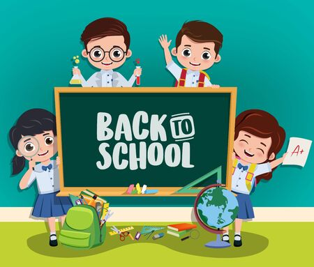 Back to school characters concept. Back to school text in chalkboard with pre-school, classmates kid student characters and education elements in classroom background. illustration.