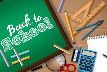 Back to school vector concept design. Back to school text in chalk board with student supplies like pencil, calculator, chalk, ruler and magnifying glass element in wood texture background. Vector illustration.  イラスト・ベクター素材
