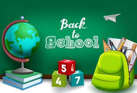Back to school vector concept design. Back to school text in green chalk board with education supplies in bag, globe, books and colorful numeral cube elements. Vector illustration.
