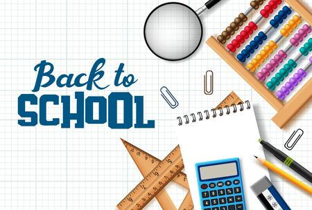 Back to school vector background design. Back to school text with realistic education student supplies like magnifying glass, notebook, abacus, ruler, pencil and paper clip element in grid paper background. Vector illustration.