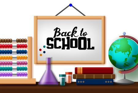 Back to school hang vector concept design. Back to school text in hanging white board with educational items like abacus, globe, book, and laboratory elements in white background. Vector illustration.