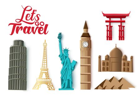 Travel landmarks vector set. Let's go travel typography and world famous and popular country landmark destination for tourism isolated in white background. Vector illustration.