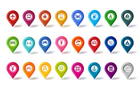 Travel map pin icons vector set. Colorful navigation map pins button with different sign for map and marker isolated in white background. Vector illustration.