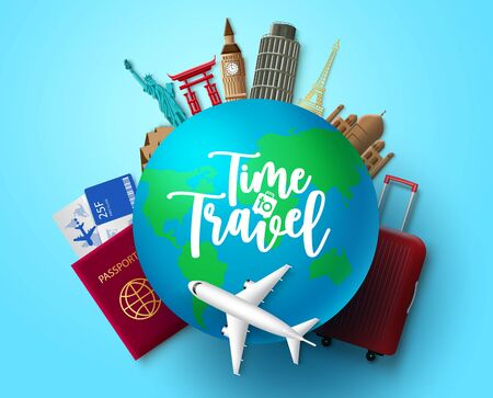 Time to travel vector concept design. Time to travel text in globe with travelling and world country landmark elements for vacation trip and tour adventure in blue background. Vector illustration. Vettoriali