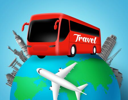 Travel bus vector design. Travel text in transportation bus with globe element and world famous country landmarks destination for world trip and tour adventure. Vector illustration. Vettoriali