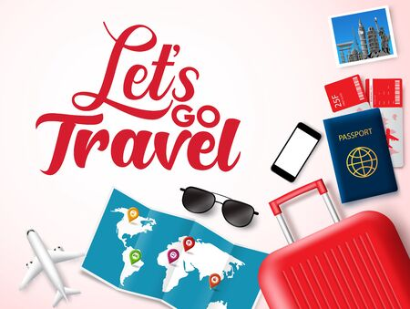 Let's go travel vector banner design. Let's go travel text in white space for messages with travelling elements like luggage, passport, ticket, map and world landmark photo. Vector illustration.  イラスト・ベクター素材