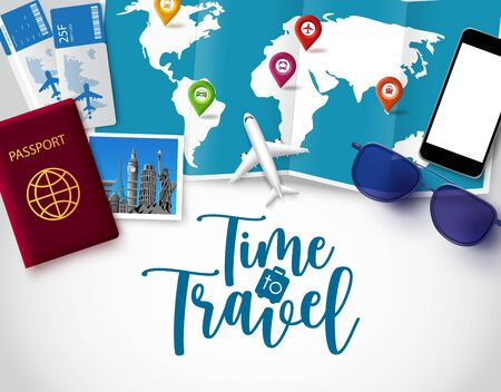 Time to travel vector banner template. Time to travel text in white space for messages with vacation trip and tour elements like world map, passport and ticket for holiday vacation in white background. Vector illustration.