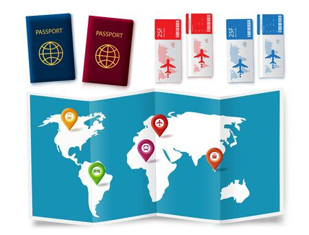 Travel map elements vector set. Travel trip and tour element like passport, ticket and map for world adventure isolated in white background. Vector illustration.  イラスト・ベクター素材