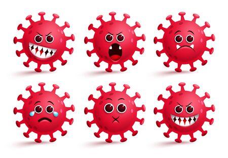 Covid-19 coronavirus emoji vector set.