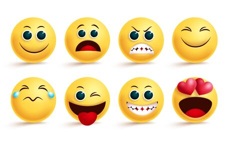 Smiley emoji vector set. Emoji smileys yellow face and emoticon with in love, angry, happy, and naughty cute facial expressions isolated for design element. Vector illustration.  イラスト・ベクター素材