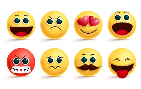 Smiley emoji vector set. Yellow smileys emoji and emoticon with cute angry, in love, sad and excited facial expressions and emotions for design elements. Vector illustration. Vektorgrafik