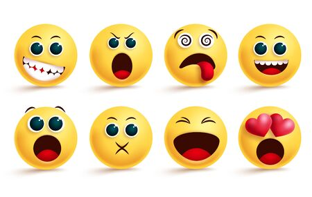 Smiley emoticon vector set. Smileys emoji and yellow face emoticons with dizzy, shouting, in love and happy cute facial expressions for design elements. Vector illustration.