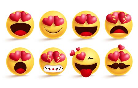 Smileys emoji with love hearts vector set. Smiley emojis and valentine heart emoticon with in love, broken, angry, and surprise facial expressions isolated in white background. Vector illustration.