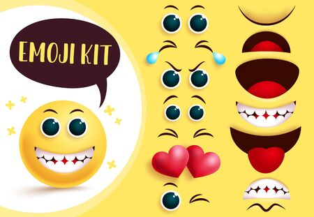 Smileys emoji vector creation kit. Emoticon and emoji yellow face with editable eyes and mouth and happy facial expression for smileys character creation. Vector illustration.  イラスト・ベクター素材