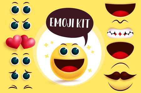 Emoji smiley vector creation kit. Smileys emoji with editable cute yellow face, eyes and mouth to create joyful facial expression. Vector illustration.