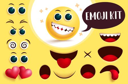Emoji smiley vector create kit. Yellow smiley face emoji and emoticon with editable eyes and mouth to create cute facial expression for sign and symbol collection. Vector illustration.