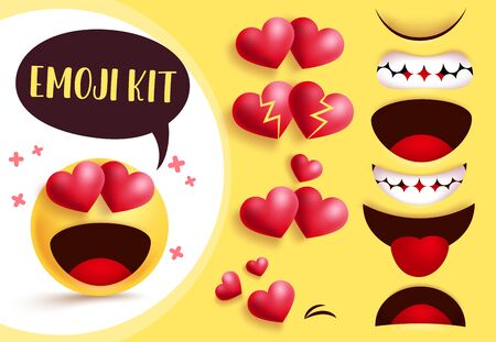 Emoji smiley love heart create kit. Smileys emoji yellow face with editable love heart eyes and mouth with in love facial expression for character creation. Vector illustration.  イラスト・ベクター素材