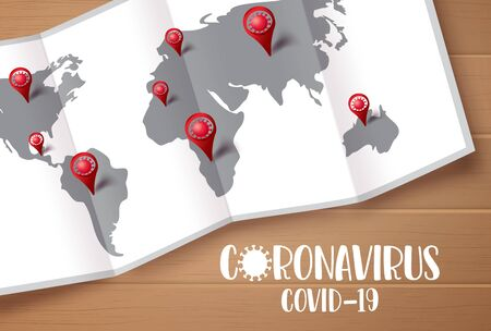 Coronavirus covid-19 text with world map and ncov pin for navigation and location of confirmed cases in wood texture Vectores
