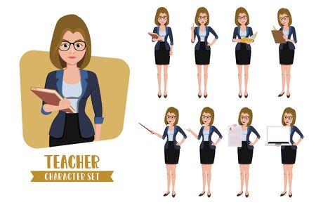 Female teacher characters standing for presentation