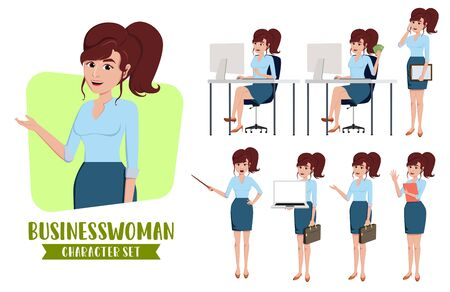 Businesswoman character vector set. 向量圖像