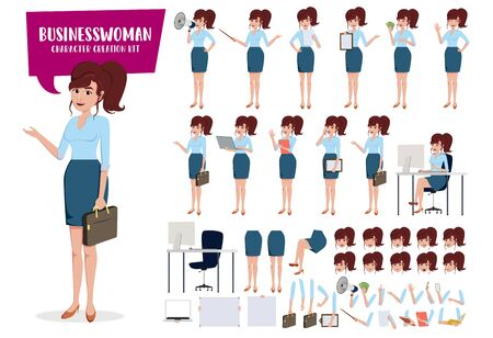 Businesswoman character creation kit vector set. Ilustração Vetorial