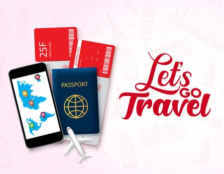 Lets go travel vector design template. Lets go travel text in empty space with travelling element like passport, ticket and phone for world travel and tour in world landmark red pattern background. Vector illustration.