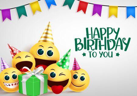 Happy birthday emoji vector greeting design.