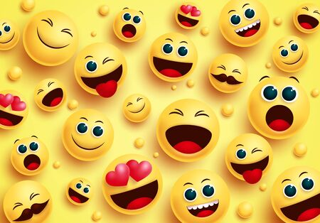 Smiley emojis in yellow background vector concept. Smileys emoji avatar character in top view with different facial expressions like in love, happy, naughty and surprise for design collection. Vector illustration. Ilustración de vector