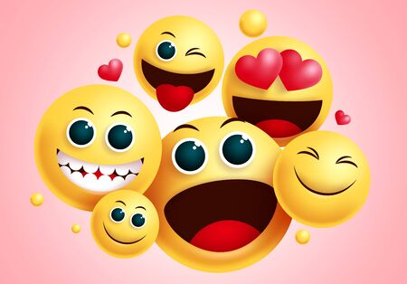 Emojis smiley group vector design. Smileys emoji group of friends with happy face and funny facial expression for friendship sign and symbol collection in red background. Vector illustration.