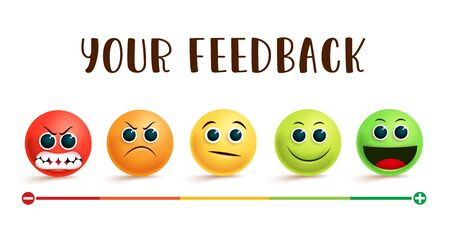 Emoji feedback rating vector banner. Your feedback text with smiley emojis in different facial expression like angry, sad, confused, smile and happy for customer evaluation rating design. Vector illustration.