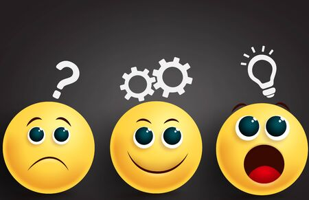 Emoji problem solving team vector design. Smiley emoji yellow face group in brainstorming thinking ideas in sad, happy and surprise facial expressions in black background. Vector illustration.