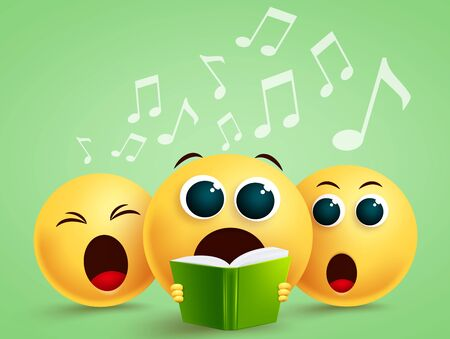 Smiley emojis singing choir vector design. Emoji with yellow funny faces holding song book singing in choir. Vector illustration.