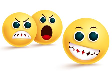 Emoji envy and confidence vector design. Smiley emoticon in silly and teasing facial expression with angry, dislike and shouting emojis behind in white background. Vector illustration.