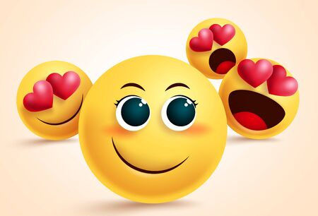 Smiley emoji love suitor vector design. Pretty emoji with suitors and admirer in love with her for admiration and love design concept. Vector illustration. 向量圖像