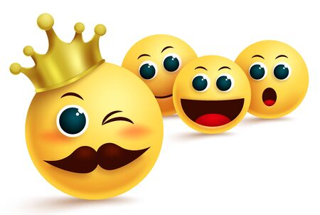 Emoji king admire vector design. Emoji king idol wearing gold crown admire with other emojis in different facial expression for champion & admiration concepts. Vector illustration.