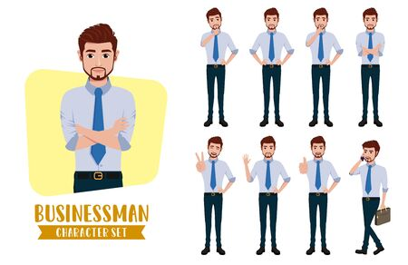 Business man character vector set. Businessman male characters office employee in standing with different pose and gestures for cartoon collection design. Vector illustration. Ilustración de vector