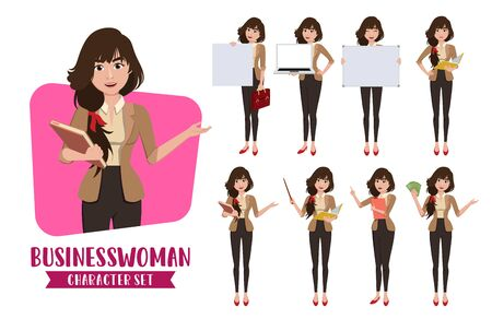 Business woman teacher character vector set. Business woman characters female office employee or teacher in presentation pose for corporate sales collection design. Vector illustration