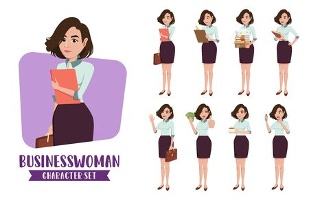 Businesswoman character vector set. Business woman characters female office employee in different standing pose and gestures for staff collection design. Vector illustration
