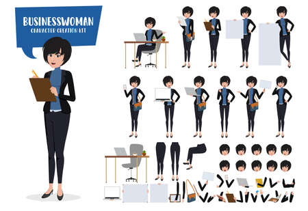 Businesswoman character creation vector set. Business woman characters editable create kit female office manager body parts movement for sales demo presentation collection. Vector illustration Illustration