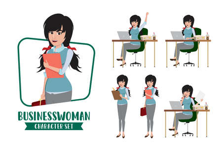 Business woman young character vector set. Young businesswoman female characters office employee staff sitting in desk preparing for demo presentation isolated in white background. Vector illustration