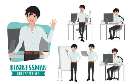 Businessman office desk character vector set. Business man office young male characters in standing and sitting in desk table working with computer laptop. Vector illustration