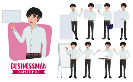Business man character whiteboard presentation vector set. Businessman male characters in presenting pose and gestures with empty white board for demo sales presentation. Vector illustration Illustration