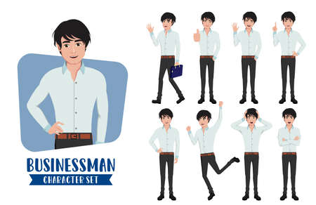 Businessman young character vector set. Business man characters in different standing pose and gestures for handsome male office employee staff collection design. Vector illustration