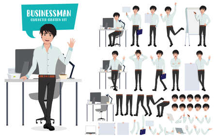 Businessman character creation kit and vector set. Business man young asian male characters office employee with editable body parts in desk for sales presentation. Vector illustration.