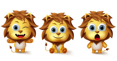 Lion animals vector character set. Little lions animal kids characters in different facial expression like cute, happy and surprise for wildlife avatar design elements collection. Vector illustration