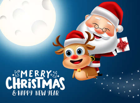Merry christmas vector banner concept design. Merry christmas greeting text with santa claus riding in reindeer character for gift giving holiday season xmas celebration. Vector illustration